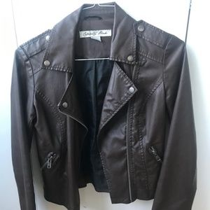 Jackets & Blazers - Brown Faux Leather Jacket